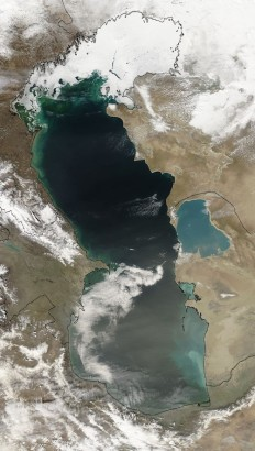 Satellite view of the Caspian in winter