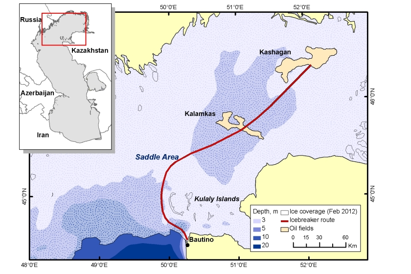 Icebreaker transit route in the north Caspian Sea between Bautino and the Kashagan oilfield.